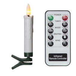 Trådlös julgransbelysning flame 10 LED-ljus med fjärrkontroll