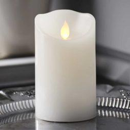 Batteridrivet ljus i vax fladdrande låga 12,5 cm timer vit