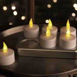 Värmeljus vita uppladdningsbara LED 6-p