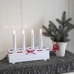 Vira box 4 ljus ljusstake med rött band