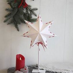 Vira pappersstjärna på fot 54cm vit