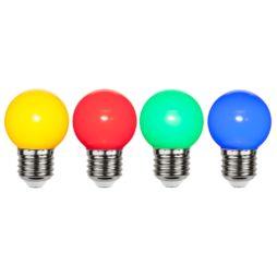 Flerfärgade led lampor med E27 sockel 4-pack