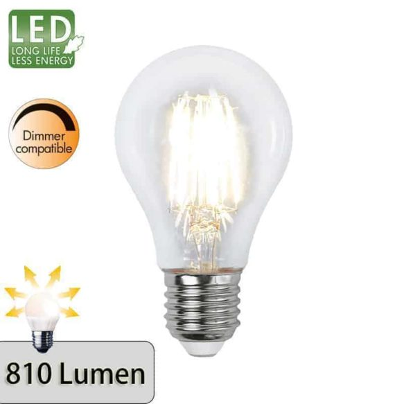 Illumination LED Klar filament lampa E27 2700K 810lm dimbar