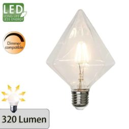 Illumination LED Glob Diamantlampa G115 E27 2700K 320lm dimbar