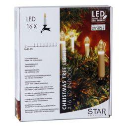 Dubbelledad inomhus julgransbelysning 16 ljus LED klar