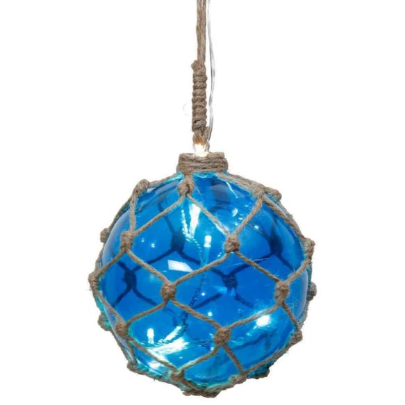 Noah Marin glasboll med ljusslinga 12cm blå