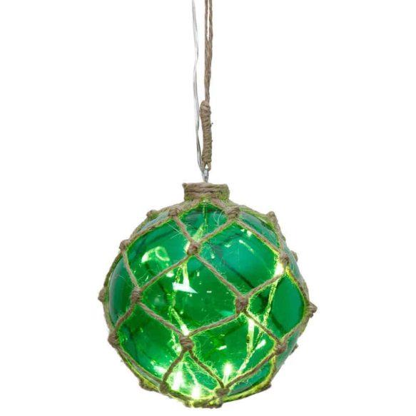 Noah Marin glasboll med ljusslinga 14cm grön