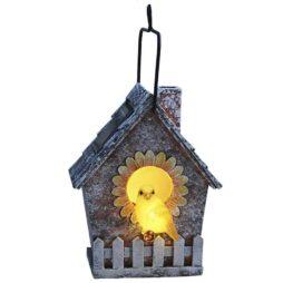 Solcellsbelysning fågelholk trädgårdsdekoration