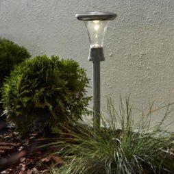2-pack gångljus solcellsbelysning i rostfritt stål