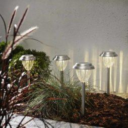 4-pack Palma solcellsbelysning i rostfritt stål