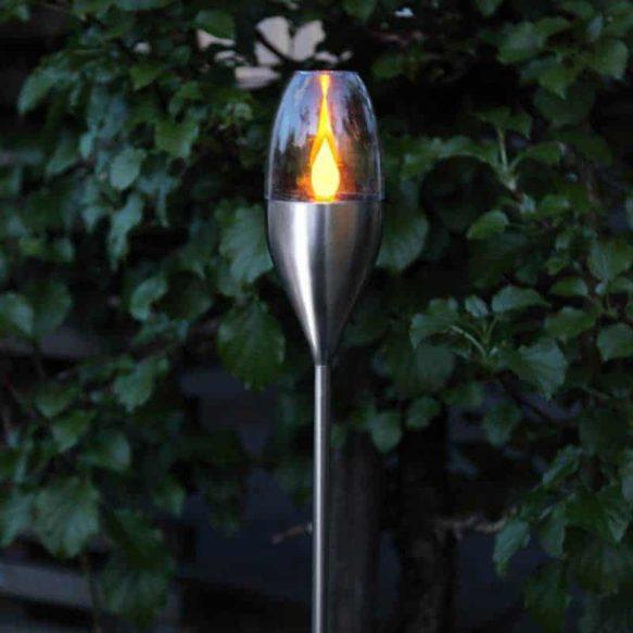 Solcellsbelysning Fackla i rostfritt stål