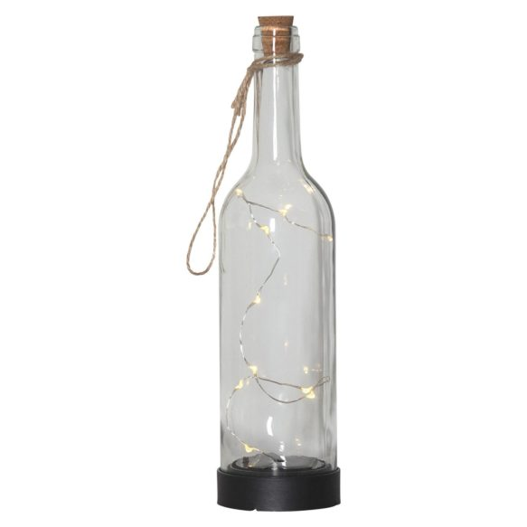 Glasflaska med ljusslinga solcell transparent