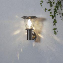 Väggljus solcell Pireus rostfritt stål 20 lumen
