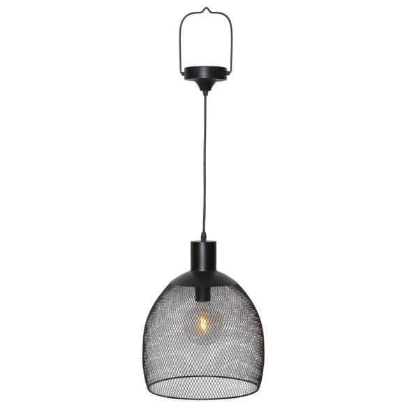 Solcellsdriven lampa i svart metall 35cm