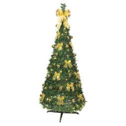 Dra-upp-plastgran med guld dekorationer 185cm 150 LED
