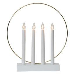 Adventsljusstake Glossy Ring 4 Ljus vit