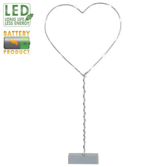 Metallhjärta på fot grå 12 LED