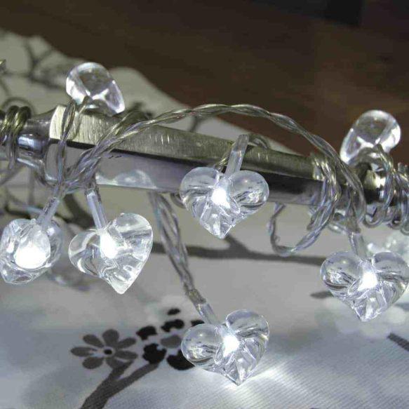 Hjärta batteridriven ljusslinga 10 ljus vit