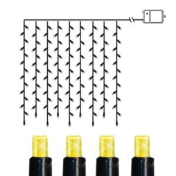 Batteridriven ljusgardin med timer 120LED varmvit longlife