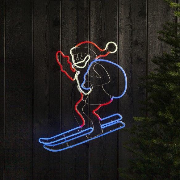 Siluett Neoled tomte på skidor 300 LED