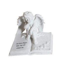 Gravsmyckning Ängel vid bok med text