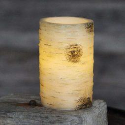 Batteridrivet ljus 12,5 cm med björkbarkmönster