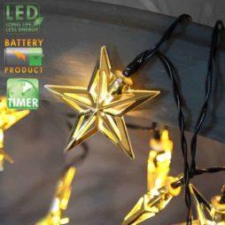 Batteridriven ljusslinga metallstjärnor mässing och timer funktion