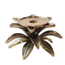 Ljusstake blad 10cm guld