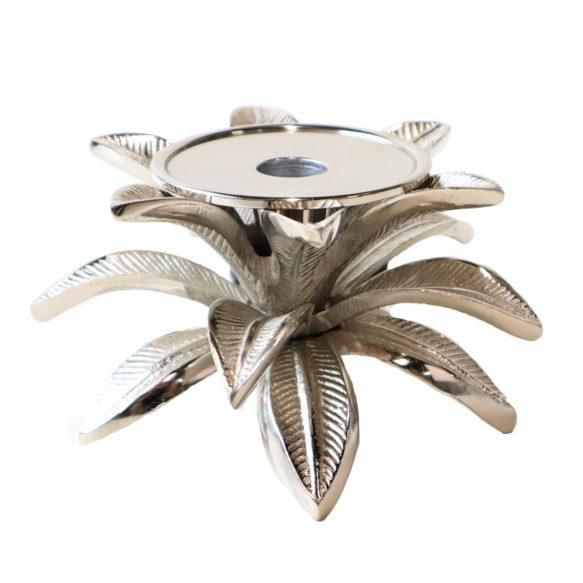 Ljusstake blad 10cm silver
