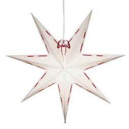 Vira 70cm vit pappersstjärna med rött band