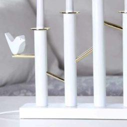 Birdy ljusstake med fågel och mässings dekorationer