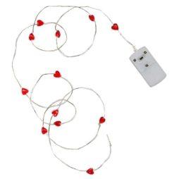 Tråd 12-ljus batteridriven ljusslinga med röda hjärtan