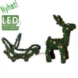 Grön ren & släde figur 90 LED